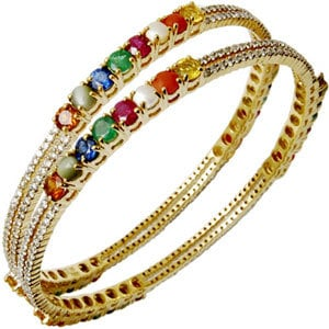 14k gold bangle with gemstones