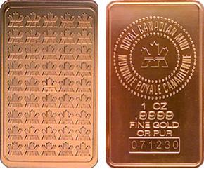 royal canadian mint pure gold bar
