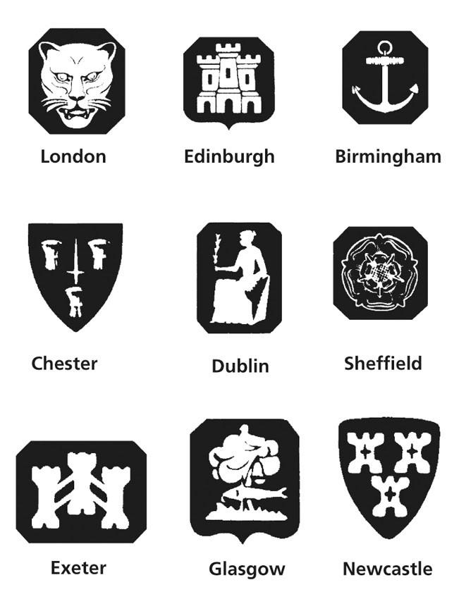 uk city hallmarks on silver